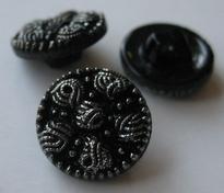 Knopf - Schwarz mit silberfarbe 13 mm