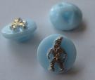 Glasknoop - lichtblauw met goudopdruk 11 mm