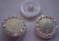 Glasknoop - wit met lichtgeel. 23 mm